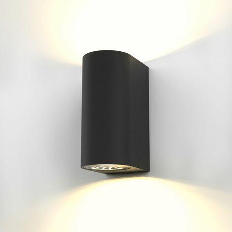 """main image of """"Lampada da parete LED, applique per esterni, include 2 lampadine GU10 da 5W, plafoniera da parete per interni, luce calda 3000K, 800Lm, lampada a muro in metallo nera IP44"""""""