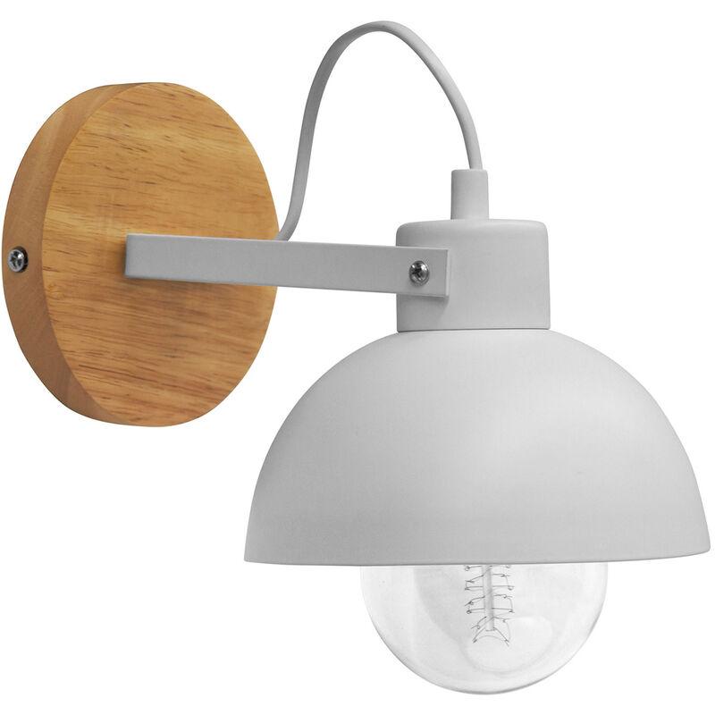 Lampada da parete metallo e legno - Syla Bianco