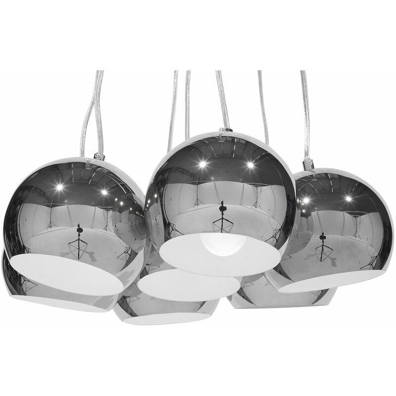 Lampadario a 7 punti luce in metallo argentato OLZA - BELIANI