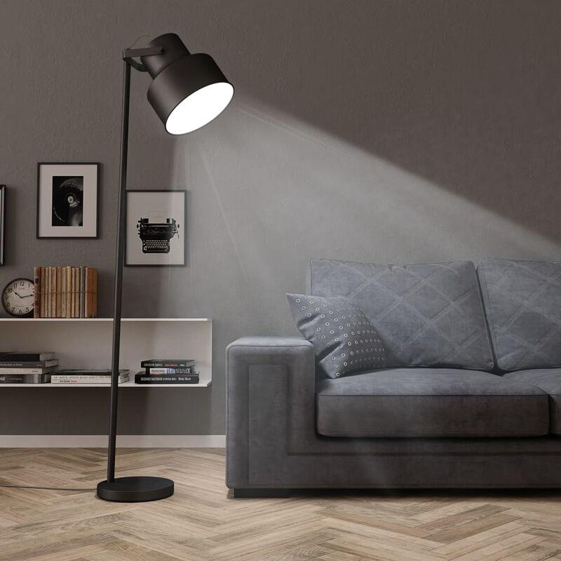 vidaXL Lampada da Pavimento in Metallo Nera E27 - Nero