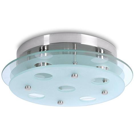 Lampada Da Soffitto 200W Plafoniera Moderna Rotonda In Metallo e Vetro Satinato