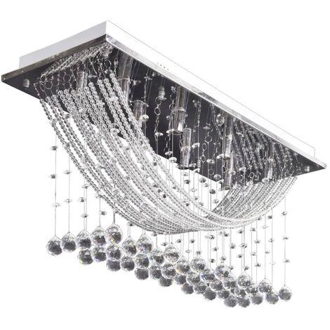 Lampada da Soffitto Bianca con Perline Cristalli di Vetro 8 x G9 29 cm