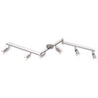 Lampada da Soffitto con 6 Faretti a LED in Nichel Satinato