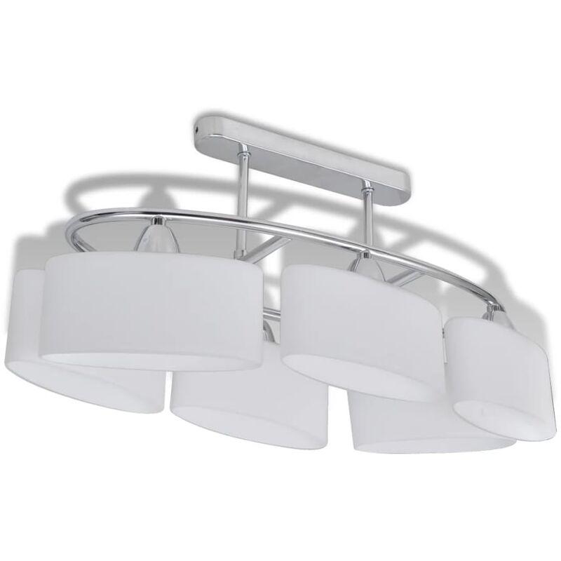 vidaXL Lampada da Soffitto Paralume Ellissoidale Vetro E14 6 Lampadine - Bianco