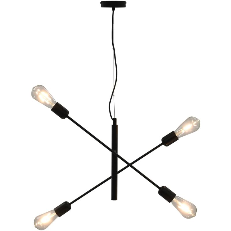 vidaXL Lampada da Soffitto con Lampadine 2 W Nero E27 - Nero
