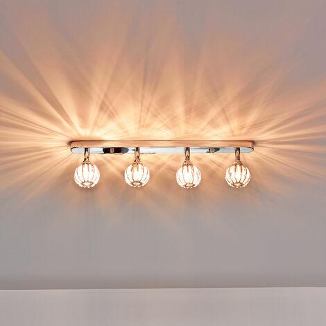 Lampada da soffitto Diametro: 49cm 4 attacchi G9 con 4 sfere di cristalli artificiali Moderna lampada da soffitto Lampada d'effetto