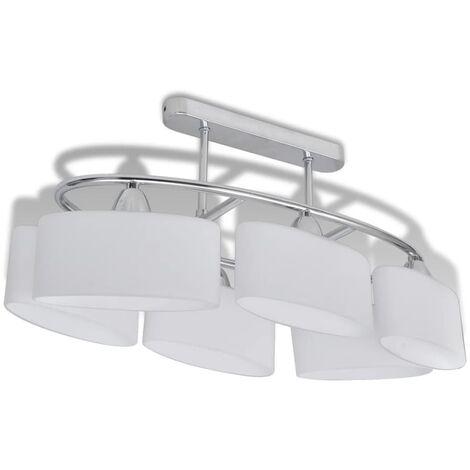 Lampada da Soffitto Paralume Ellissoidale Vetro 6 Lampadine E14