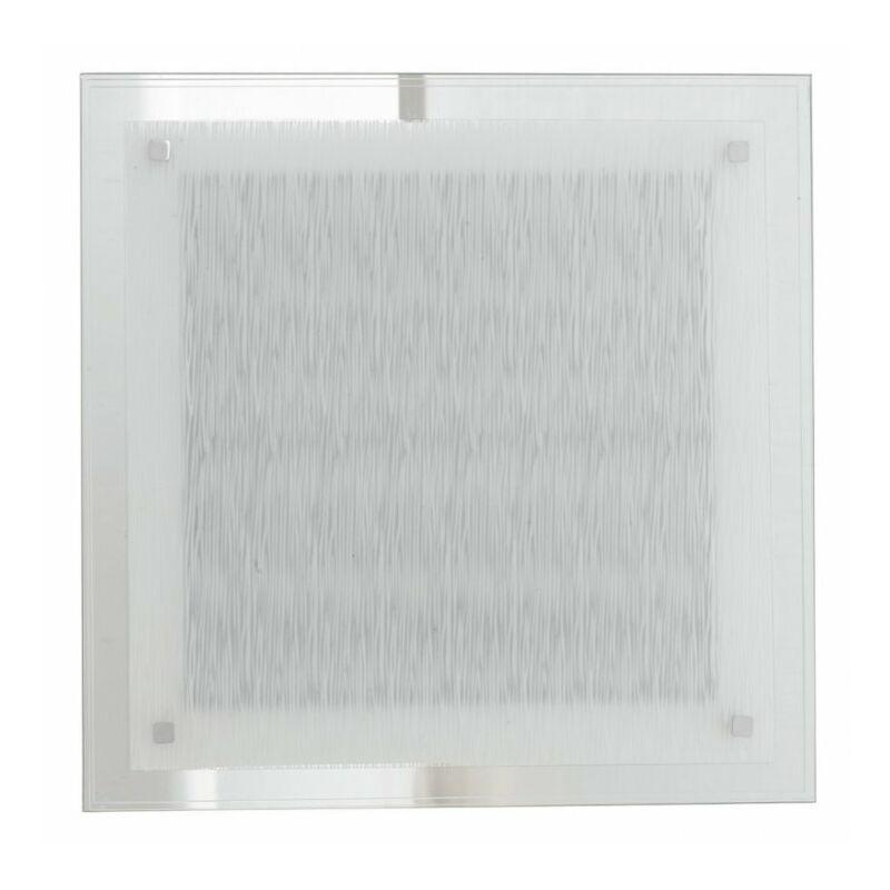 Shop-day - Plafoniera Decoro Linee Quadrato Vetro Lampada Moderna Led 24 watt Luce Naturale