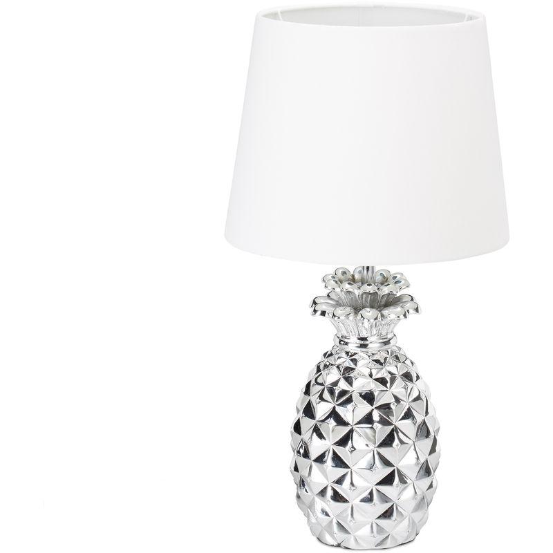 Lampada da Tavolo a Forma di Ananas, con Cavo,Paralume in Stoffa,Design Originale,HxØ: 47x25 cm,bianco/argento