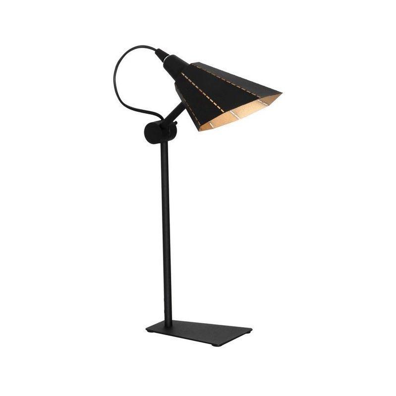 Homemania - Lampada da Tavolo Alhena - da Scrivania, Ufficio, Comodino - Nero, Oro in Metallo, 15 x 12 x 45 cm, 1 x E14, Max 40W