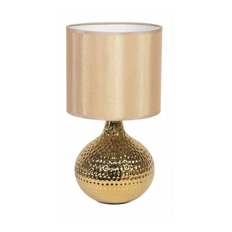 Shop-day - Lampada da tavolo oro con fusto dalla superficie irregolare 40 watt E14