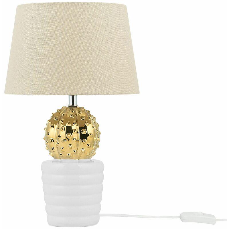 Lampada da tavolo colore oro e bianco VELISE - BELIANI