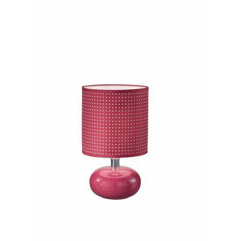Lampada da tavolo con paralume rosa a pois bianchi 40 watt E14