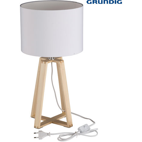 Lampada Da Tavolo Grundig 40 cm Struttura In Legno Paralume E27 Casa Ufficio