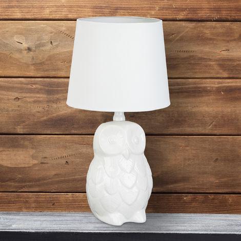 Lampada da tavolo gufo, design lume da comodino con paralume in stoffa, da lettura ceramica alta 40 cm bianco