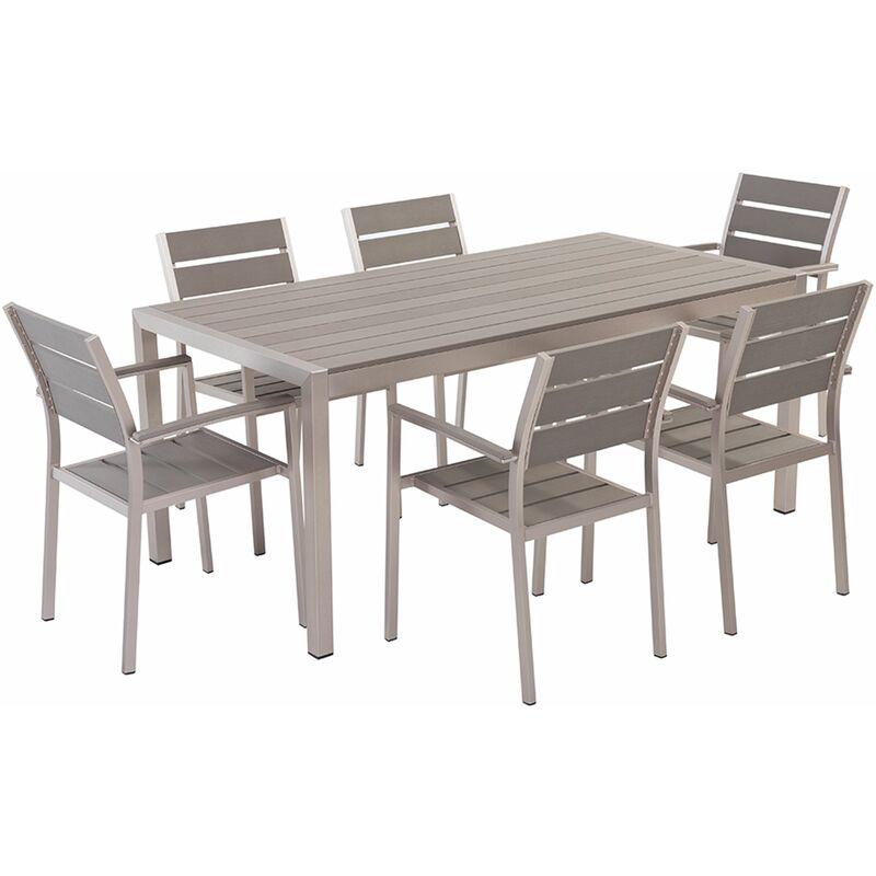 Set Di Tavolo E Sedie Da Giardino In Alluminio E Legno Sintetico Bianco Vernio Set Di Mobili Arredamento Da Giardino