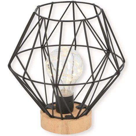 Lampada da Tavolo Led Design Moderno in Metallo e Legno a Batteria Grundig