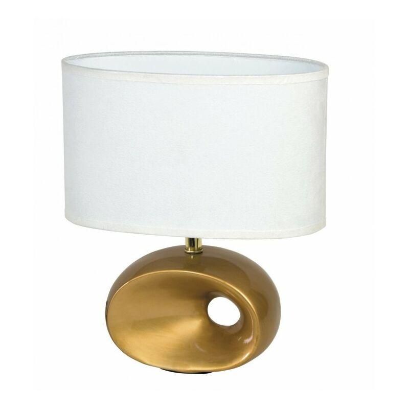 Lampada con fusto dalla forma originale oro e paralume bianco 40 watt E14