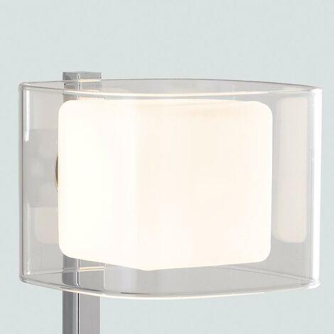 Lampada Da Tavolo Metallo Cromato Paralume Vetro Trasparente E ...