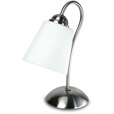 Paralumi In Vetro Per Lampade Da Tavolo.Lampada Da Tavolo Nickel Metallo Paralume Vetro Soffiatto Classica E14 Ambiente I 1162 L
