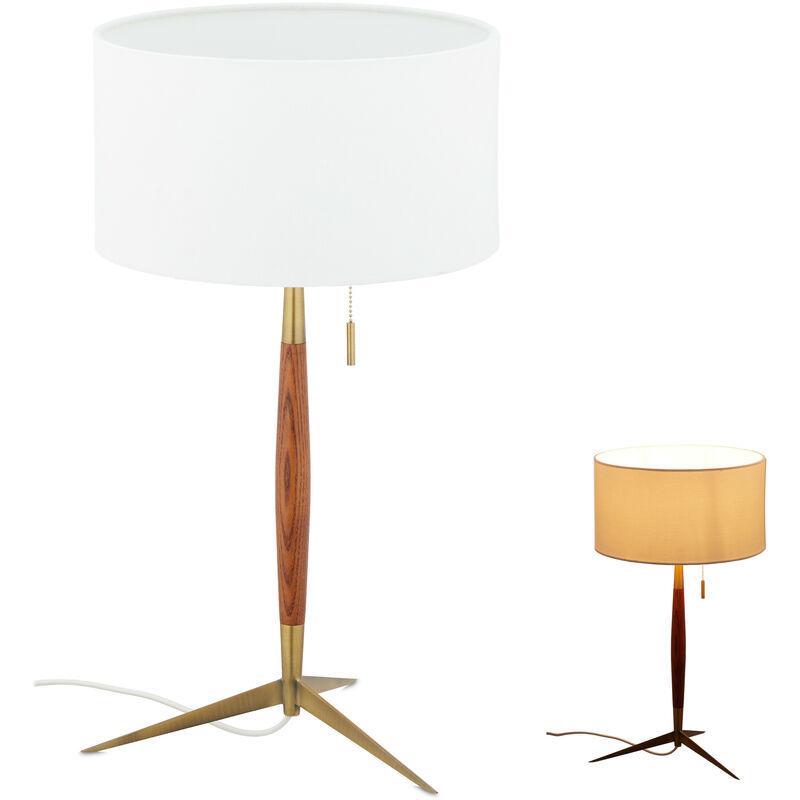 Lampada da Tavolo, Paralume & Interruttore, E27, Scrivania, Comodino, Abat Jour Interni, Bianco/Marrone/Ottone