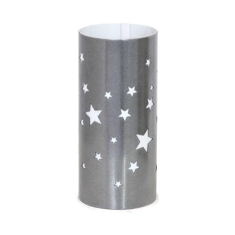 Homemania - Lampada da Tavolo Starlight - da Scrivania, Ufficio, Comodino - Argento, Bianco in Metallo, Plastica, 10 x 10 x 22,5 cm, 1 x E27, 60W