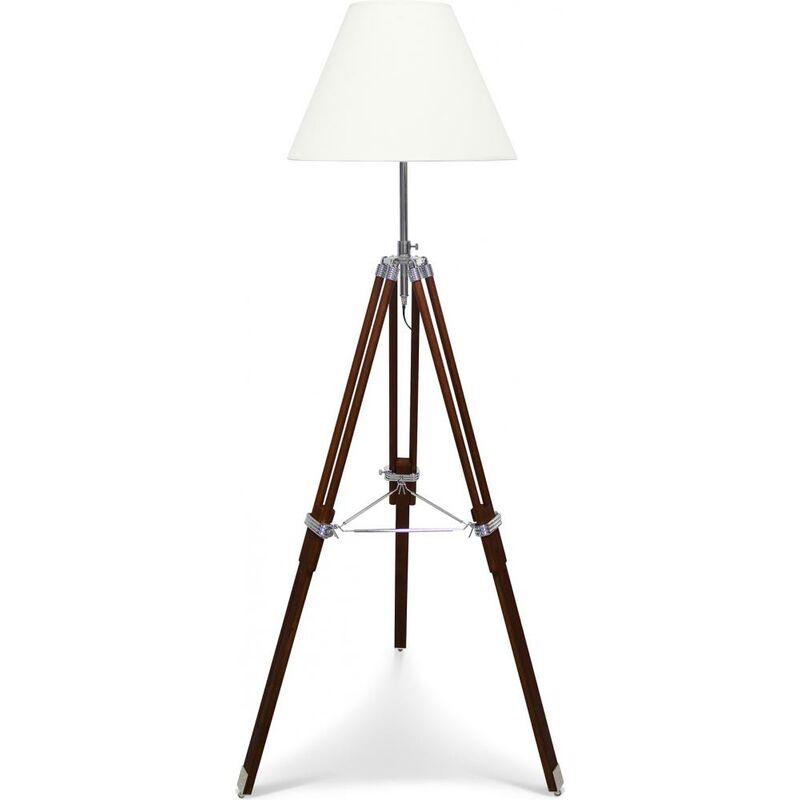 Privatefloor - Lampada da Terra a Treppiede - Paralume Classico Bianco - Altezza Regolabile Marrone