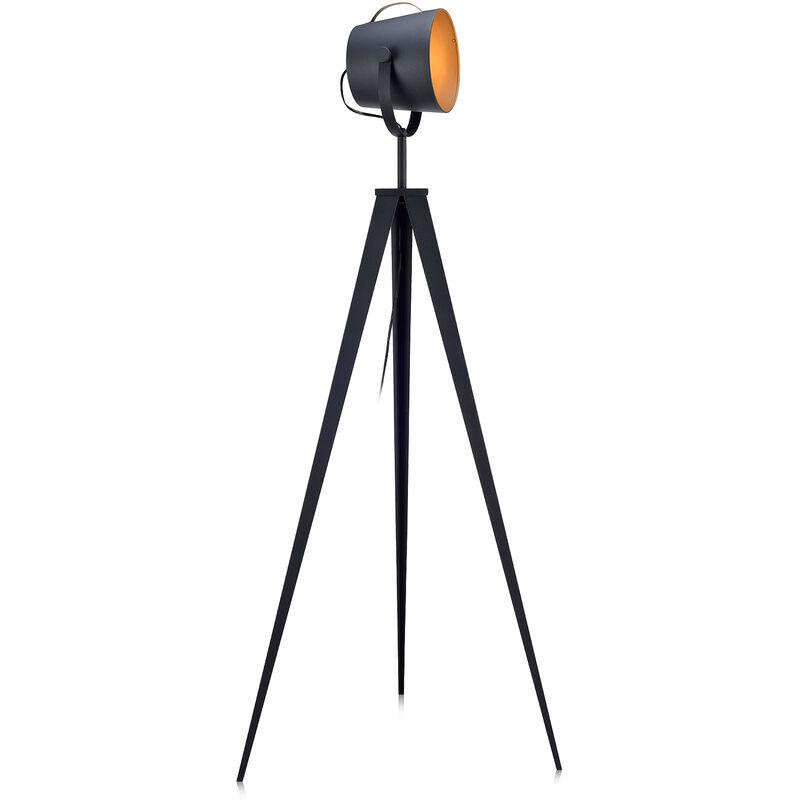 Lampada da terra LED moderna treppiede nero oro Versanora VN-L00020-EU