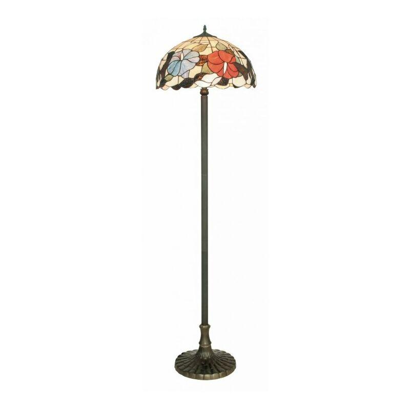 Shop-day - Lampada da terra Piantana in vetro decorato dai colori vivaci 60 watt E27