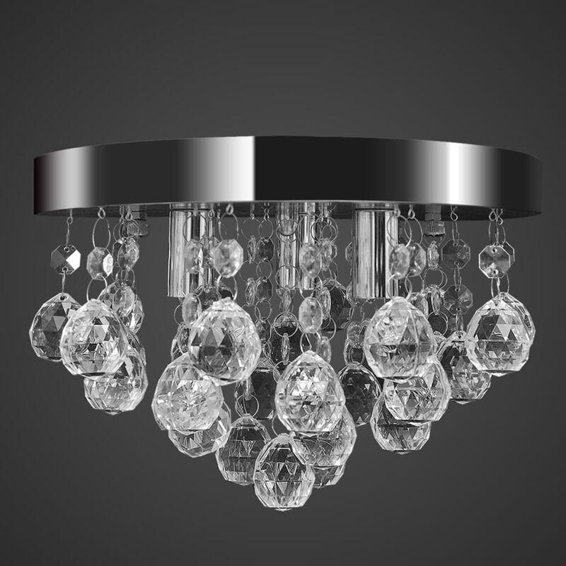 Lampada di Soffitto Pendente in Cristallo Lampadario Cromato - ASUPERMALL