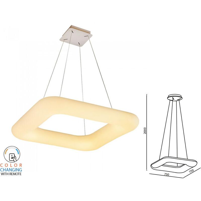 LEDLUX SV3964 Lampada Led A Sospensione Moderno Quadrata CCT 750X750mm 80W Dimmerabile Telecomando 3 In 1 SKU-3964
