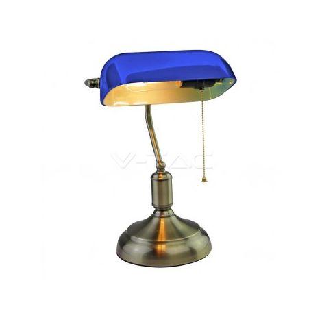 Lampada LED da Tavolo Vintage in Metallo con Portalampada E27 Diffusore Inclinabile di 90° in Vetro