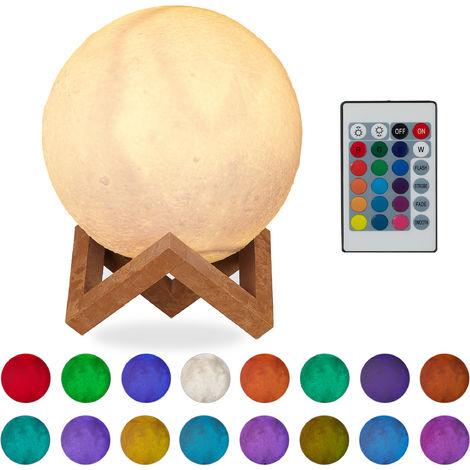 Lampada Luna 3D, 16 Colori, Regolabile, Touch Sensor, Senza Cavo, per Bambini Illuminazione a LED 15 cm Bianco