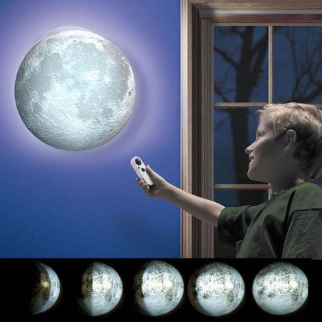 Lampada Luna a Parete Moon Light Lamp Luce Notturna LED Fasi Lunari Telecomando