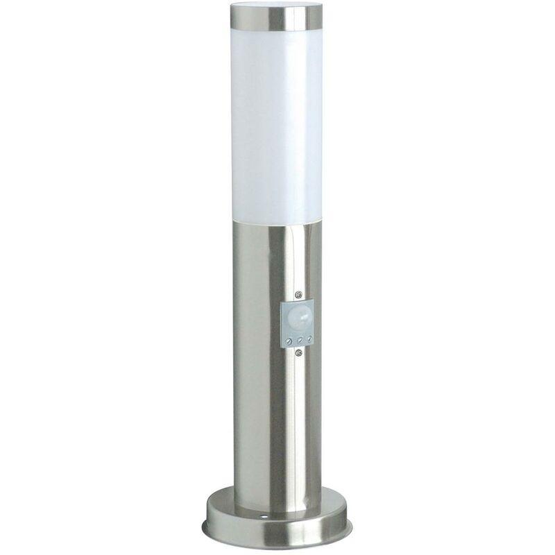 Lampada Palo Da Giardino A Led Con Sensore Di Movimento Acciaio Inox 45 Cm - RANEX
