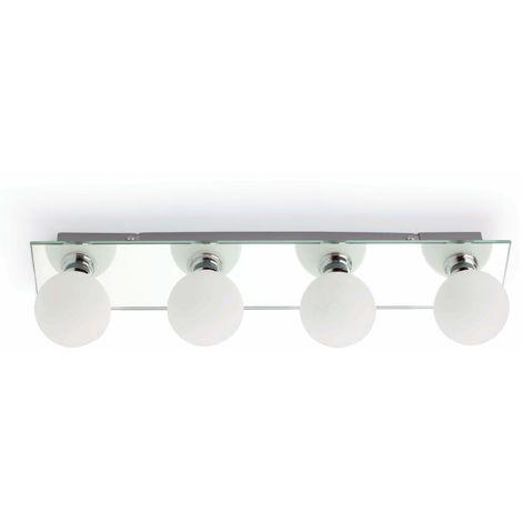 Lampada per bagno in vetro con 4 luci cm 9X12X44 FARO 63008