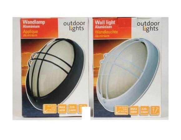 Lampada per esterno ovale da parete alluminio luce a piedistallo