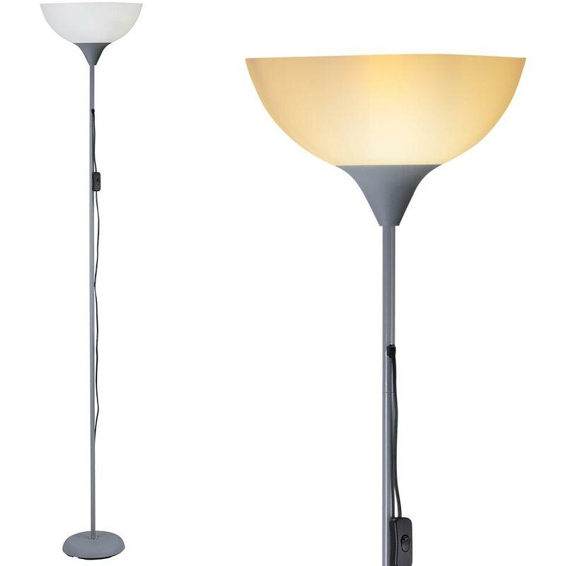 Lampada Piantana da Terra 180cm Design Moderno Paralume E27 40W Metallo Grigio - BAKAJI