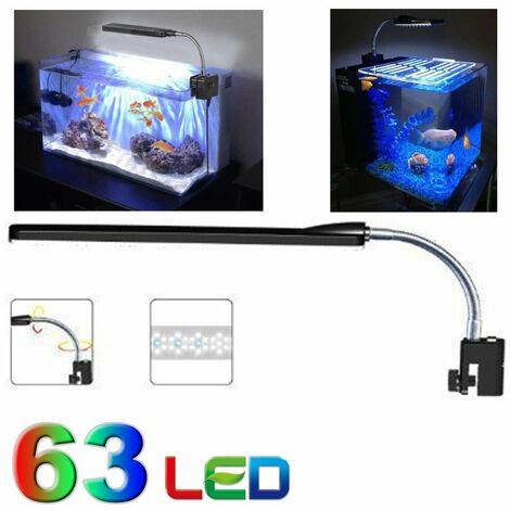 Luce Led Acquario.Lampada Plafoniera 63 Led Luce Acquario Bordo Vasca 6 W Colore Bianco Blu 30 Cm