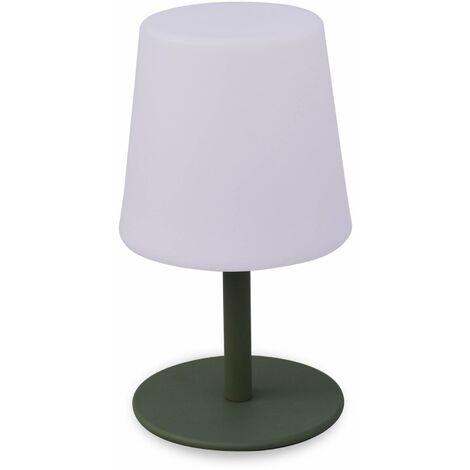 LAMPADA S COLOR - Lampe de table LED de 28cm vert de gris - Ø 16cm