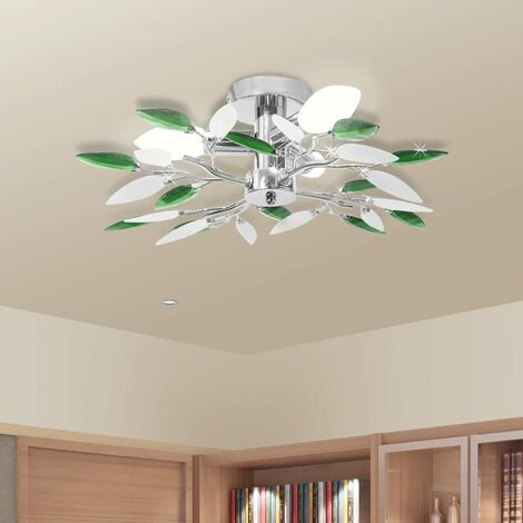 Lampada Soffitto Foglie Bianco e Verde Cristallo Acrilico 3xE14