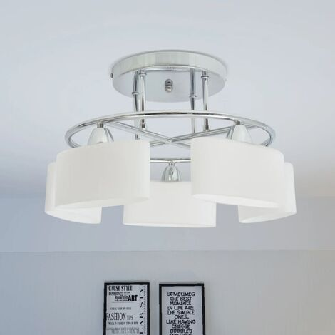Lampada Soffitto Paralumi Elissoidi Vetro 5 Lampadine E14 200 W