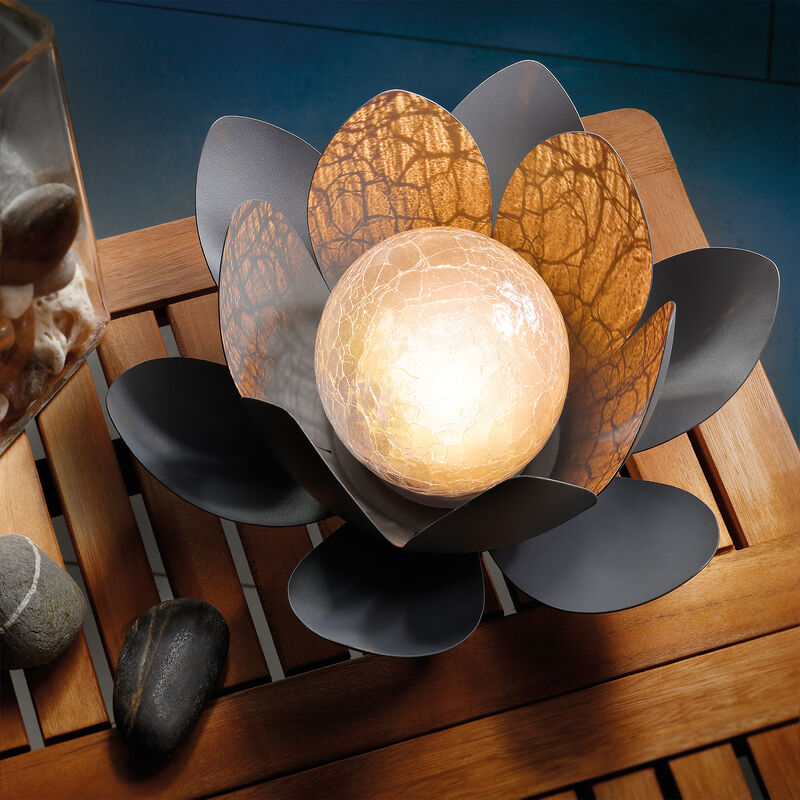 Lampada solare da giardino con fiore di loto, luce bianca calda. Lampada solare da giardino , esotec 102086