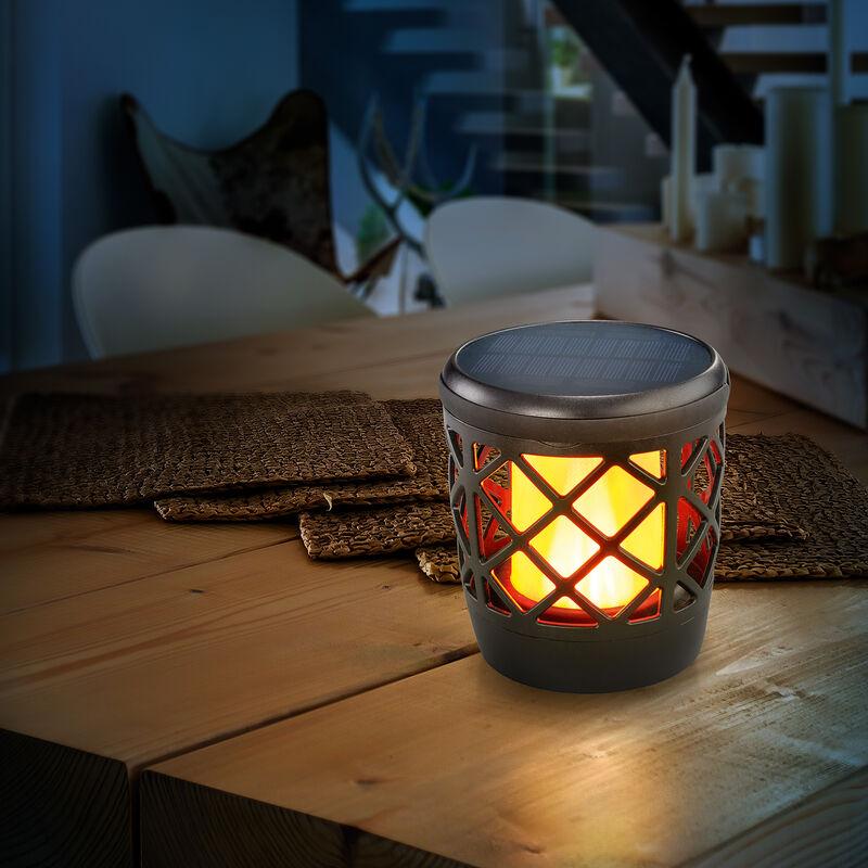 Lampada solare da tavolo decorativa con effetto fiamma. Lampada solare per giardino esotec 102271