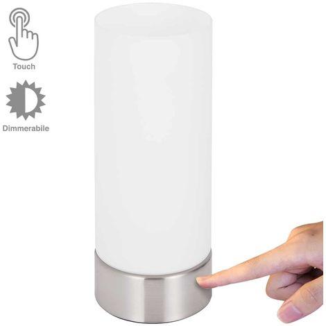 Lampada Tavolo Lume Comodino Accensione Touch Luce Dimmerabile Vetro Cillindro