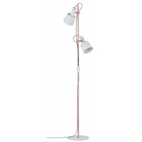 Lampadaire 2 sources NEORDIC HALDAR - 2 x 20W - E14 - 230V - Blanc - Cuivre - Dimmable - Sans ampoule - Avec connecteur de câble