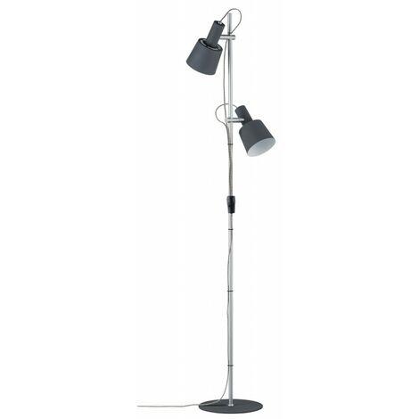 Lampadaire 2 sources NEORDIC HALDAR - 2 x 20W - E14 - 230V - Gris - métal - Dimmable - Sans ampoule - Avec connecteur de câble