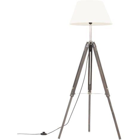 Lampadaire à trépied Gris et blanc Bois de teck massif 141 cm