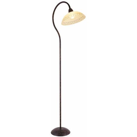 Lampadaire à vasque luminaire sur pied chambre design antique brun rustique interrupteur