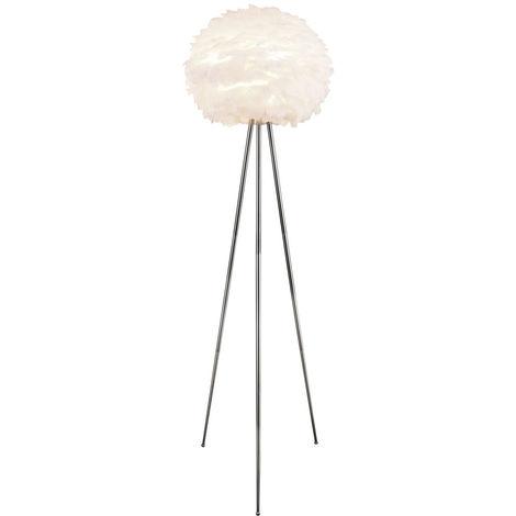 Lampadaire avec abat-jour rond en plumes, hauteur 154 cm